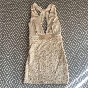 Bebe sequin plunge silk open back deep mini dress